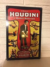 "Harry Houdini Poster Repro Aluminum Sign 12"" x 18"" HANDCUFFS MAGIC SHOW MAGICIAN"