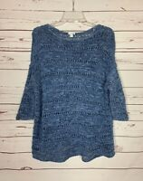 J.Jill Pure Jill Women's Size M Medium Blue 3/4 Sleeves Cute Spring Sweater Top