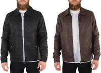 New Mens Black Leather Bomber Jacket Flight Biker Motorcycle Active Jacket 998A