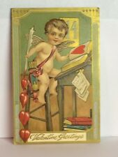 PostCard Valentine Greeting February 14 Cupid Baby & Hearts Posted Used 2/191