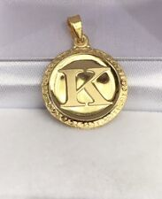 18k Solid Yellow Gold Letter Initial K Round Charm Pendant, 2.60 Grams