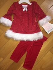 BONNIE BABY 3/6m 2 pc Red Lace White Holiday Christmas Dress leggings set NWT