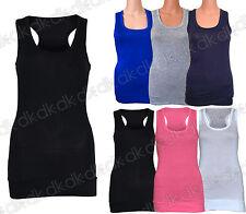 Woman's Girls Summer Stretchy Vest Gym Yoga Sports Plain Tank Top Size 8 10 12