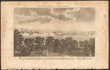1779 ca ANTIQUE PRINT- DEVON - VIEW OF PLYMOUTH FORT AND ST NICHOLAS'S ISLAND