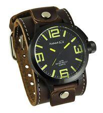 Nemesis Black/Yellow Oversized Round Watch + Brown XL Stitched Leather Cuff Band