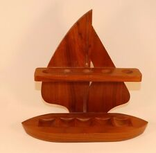 17249 Vintage Mid Century 5 Smoking Pipe Wood SAILBOAT Holder Stand ~ Nautical