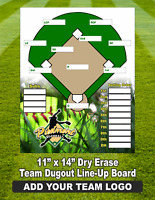 "COACHES DRY ERASE SOFTBALL, BASEBALL TEAM LINE-UP BOARD 11"" X 14"" WITH TEAM LOGO"