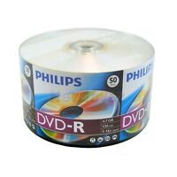 100 PHILIPS 16X Blank DVD-R DVDR Disc 4.7GB Shrink Wrap