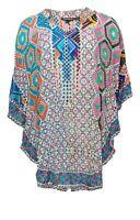 Tolani Collection Women's Top Sz M Mandarin Collar Printed Caftan Ivory A345947