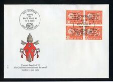 SCHWEIZ BIT/ILO Nr.103 VIERERBLOCK SCHMUCK-FDC PAPST PAUL VI. (127224)