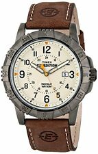 NEW Timex Mens T49990 Expedition Rugged Metal Brown Natural Leather Strap Watch