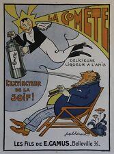 """""""LA COMÊTE Liqueur Anis"""" Affiche originale entoilée Litho Joseph HEMARD 64x84cm"""