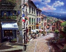 """French Village Landscape Oil painting Printed on canvas 12""""X16"""" P059"""