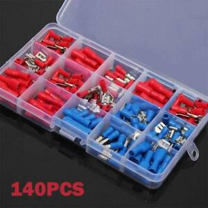 140 Assorted Insulated Electrical Wire Terminals Crimp Connectors Spade Kit