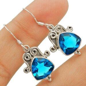 4CT London Blue Topaz 925 Sterling Silver Earrings Jewelry 1 1/3'' Long K2-5