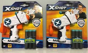 NEW LOT OF 2 ZURU XSHOT MICRO DART GUN WITH DARTS X-SHOT 3.5""