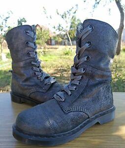 Dr Martens Triumph Aimilie Metallic Dark Gray Women 7 UK 9 US Foldover Boots