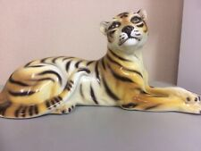 Tiger lying down statue ceramic figurine Italian made 35cm = lying down length