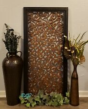 Decorative Ornate Scrolling Brown Carved Wood Balinese Wall Art Panel Plaque New
