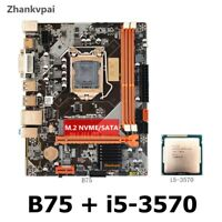 Zhankvpai B75 LGA 1155 DDR3 motherboard + Intel core i5/ i3 CPU M.2 NVME/SATA