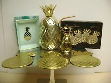 GOLD STAINLESS STEEL PINEAPPLE TUMBLER COASTER SHOT GLASS DRINK WARE SET 4
