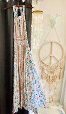 Jaase Endless Summer Maxi Dress Small NWOT Floral Boho Gypsy Hippy Blue Peach