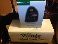 Dept 56 VILLAGE LIGHTED SNOWY TREE W/ 45 Mini LED Lights & Sign post IN BOXES