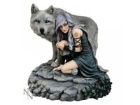 Protector By Anne Stokes - Limited Edition Lone Wolf & Maiden Figurine Statue