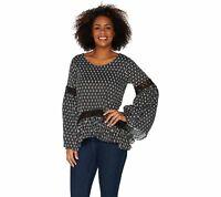 Laurie Felt Women's Scoop Neck Long Sleeve Printed Blouse (Black Geo, S) A301666