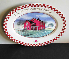 """Vintage Oval Platter COUNTRY LIFE """"I Love My Country Home"""" 12x9""""  FREE SH"""