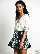 NEW Free People Keepsake Better Off Alone Skirt black white RARE XS $140