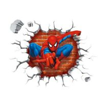 3D Cracked Themed Wall Sticker Spider Man For Children Home Decor DIY Mural Art