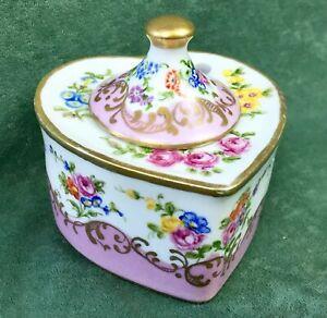 Vtg Pink Floral Garden French Porcelain Inkwell Pot Heart Shaped Gold Gilt