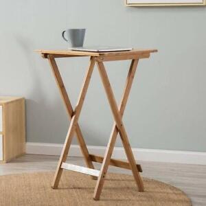 Bamboo Folding Bedside Foldable Table Wooden Multipurpose Portable Desk Laptop