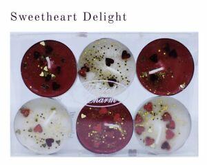 Valentines Glitter Tea lights Vanilla Berry Candles Gift Romance Red Hearts