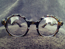 Tortoise-Shell Patten Round Oversized Vintage Retro Fashion Glasses 60s 80s