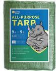 GUARD RHINO Tarp 9x9 Feet Green Multi Purpose Waterproof Poly Tarp Cover 4mil