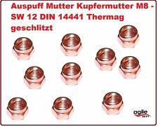 10 Stück Auspuff Mutter Kupfermutter M8 - SW 12 DIN 14441 Thermag geschlitzt