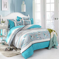 Letters Blue Single Double Queen King Size Bed Set Pillowcases Quilt Duvet Cover