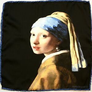 Girl With A Pearl Earring Vermeer | Hand Rolled Satin Silk Pocket Square Gift