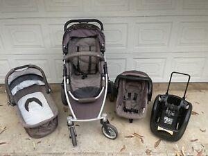Strider DLX stroller, bassinet & baby capsule complete system.