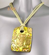 Genuine Shell Mother Of Pearl Contemporary Chunky Lime & Peach Pendant Necklace