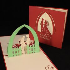 POP UP 3D wedding card - bride & groom in the garden
