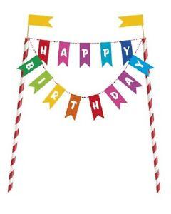 Rainbow Bunting Happy Birthday Cake Topper Party Celebrations Decoration