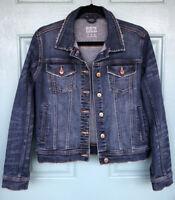 Zara Basic Z1975 Dark Wash Denim Jean Jacket Button Down Women's Size Medium