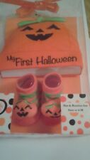Nwt My First Halloween Hat & Booties Set, Size 0-6 Months