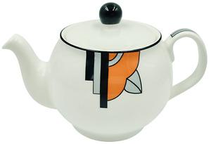 "Stylish ""Ritzy"" Art Deco Bone China 2 Cup Teapot ""Orange"" Design"