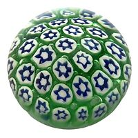 Vintage Italy Murano Art Glass Millefiori Paperweight Green White Blue