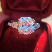 3.17 CTW Cushion Cut Brilliant Diamond Best Engagement Ring Solid 14K White Gold