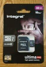 Integral UltimaPro 32GB microSDHC Class 10 40Mb/s Memory Card with Adapter, New